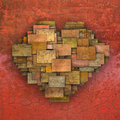 3d Fragmented Love Heart Shape Square Tile Grunge Pattern Royalty Free Stock Images - 44458409