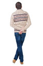 Back View Of Handsome Man In Warm Sweater Looking Up. Stock Images - 44470744