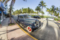 Vintage Car At The Ocean Drive In Miami Beach Royalty Free Stock Photography - 44474087