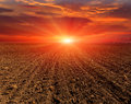 Evening On Ploughed Field Stock Photos - 44475053