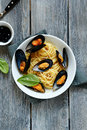 Spaghetti With Sea Mussels Stock Photography - 44482002