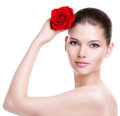 Beautiful Woman With A Red Rose. Royalty Free Stock Images - 44492469