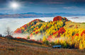 Colorful Autumn Landscape In The Mountain Village. Foggy Morning Royalty Free Stock Image - 44502316