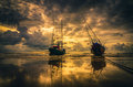 Fishing Sea Boat And Sunrise Royalty Free Stock Photography - 44520207
