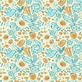 Seamless Doodles Birds And Flowers Grunge Pattern Stock Images - 44524554