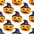 Halloween Pumpkin Witch Hat Seamless Stock Images - 44529414