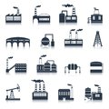 Industrial Building Icons Black Royalty Free Stock Photography - 44536327