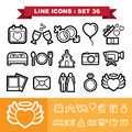 Wedding Love Line Icons Set 36 Royalty Free Stock Photography - 44553677
