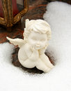 Small Angel In The Snow Royalty Free Stock Photo - 44555985