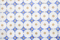 Hand Painted Glazed Tiles, White Blue Yellow, Abstract Stock Photography - 44568232