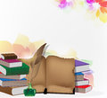 Books And Feather On Floral Background Royalty Free Stock Image - 44568706
