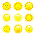 Set Of Smiling Sun Over White Royalty Free Stock Photography - 44570247