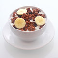 Delicious Chocolate Breakfast Cereal With Banana Stock Image - 44571521