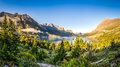 Panoramic Landscape View Of Glacier NP Mountain Range And Lake Royalty Free Stock Photos - 44578678