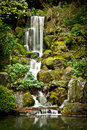 Serene Waterfall At The Portland Japanese Garden Stock Photography - 44581782
