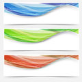 Bright Wave Lines Red Blue Green Headers Royalty Free Stock Image - 44587186