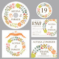 Autumn Wedding Template Set With Leaves Wreath Royalty Free Stock Image - 44587986