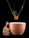 Egg Yolk Dripping In To Cup. Stock Photo - 44597880