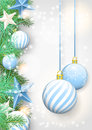 Christmas Background With Blue Ornaments And Branches Stock Photo - 44623250