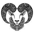 Vector Decorative Sheep With Patterned Horns Royalty Free Stock Image - 44625266