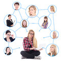 Teenage Girl With Laptop And Her Social Network Isolated On Whit Royalty Free Stock Photography - 44625567