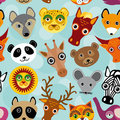 Seamless Pattern With Funny Cute Animal Face On A Blue Backgroun Royalty Free Stock Photo - 44630615