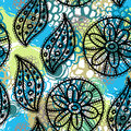 Lace Seamless Pattern With Flowers And Leaves Blue Brown Green.  Stock Photos - 44631093