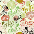 Vintage Bicycles, , Seamless Pattern, Pastel Green Brown Beige Colors Stock Photos - 44632083