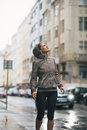 Fitness Woman Exposed To Rain While Jogging Royalty Free Stock Photos - 44633588