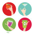 Woman S Hand With A Drink. Vector Set Of Four Icons Royalty Free Stock Photos - 44637638