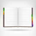 Open Book With Colorful Bookmarks Aside Isolated Stock Images - 44646674