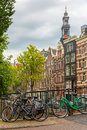 City View Of Amsterdam Canals And Typical Houses, Holland, Nethe Royalty Free Stock Image - 44650046