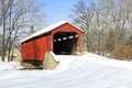 Covered Bridge In Snow Stock Photo - 44652430