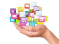 Hand With Application Software Icons. Social Media Royalty Free Stock Photos - 44652908
