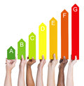 Multiethnic People Holding Energy Graph Royalty Free Stock Photo - 44654455