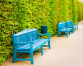 Blue Wooden Benches In Park Royalty Free Stock Photography - 44656807