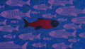 Think Different. Brave Fish Dare To Swim Against The Stream Royalty Free Stock Image - 44659706