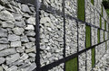 Wall Of Stone And Artificial Grass Stock Photography - 44660452