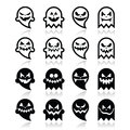 Halloween Scary Ghost  Black Icons Set Stock Photo - 44665150