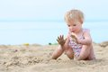 Lovely Little Girl Playing On The Beach Stock Photo - 44675730