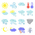 Weather Forecast Icons Set, Vector Royalty Free Stock Photography - 44679807