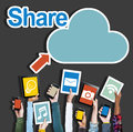 Diverse Hands Holding Digital Devices Cloud Networking Stock Images - 44686454