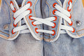 Old Jeans Sports Shoes Royalty Free Stock Images - 44688109