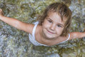 Smiling Toddler Child Girl On Waterfall Background Stock Photos - 44695433