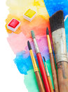 Brushes And Watercolor Paints Border Stock Photography - 44698252