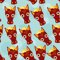 Horse Seamless Pattern With Funny Cute Animal Face On A Blue Bac Stock Images - 44717834