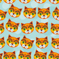 Cat Seamless Pattern With Funny Cute Animal Face On A Blue Backg Royalty Free Stock Image - 44717846