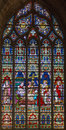 Bruges - The Death Of St. Helen On Windowpane In St. Salvator S Cathedral (Salvatorskerk) Royalty Free Stock Photo - 44723775