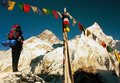 View Of Everest With Tourist And Buddhist Prayer Flags Stock Photo - 44727140