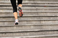 Woman Running Up On Stone Stairs Royalty Free Stock Images - 44748829